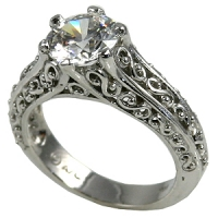 "14k Gold Antique Filigree ""Peek-A-Boo"" Solitaire CZ Cubic Zirconia Ring    - Product Image"