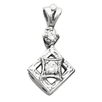14k Gold .10ctw Antique Estate Vintage Style Fancy CZ Cubic Zirconia Pendant - Product Image