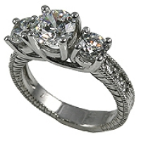 14k Gold 2.3 ctw 3 Stone Antique CZ Cubic Zirconia Ring - Product Image
