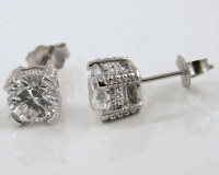 14k Gold 2ctw Antique Victorian Estate Style CZ Cubic Zirconia Earrings - Product Image
