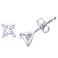 "14k Gold 3 Prong ""Martini"" Princess Cut Russian CZ Cubic Zirconia Stud Earrings - Product Image"