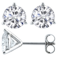 "14k Gold 3 Prong ""Martini"" Round Brilliant Cut Russian CZ Cubic Zirconia Stud Earrings - Product Image"