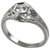 14k Gold .50 ct Round Brilliant CZ Cubic Zirconia Antique Deco Style Solitaire Ring   - Product Image