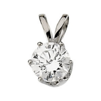 14k Gold 6 prong Solitaire Pendant  - Product Image