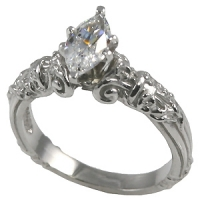 "14k Gold Antique Estate Column Style ""Any stone Shape"" Russian CZ Solitaire Engagement Ring  - Product Image"