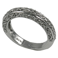 "14k Gold Antique Filigree ""Peek-A-Boo"" Ring Wedding Band - Product Image"