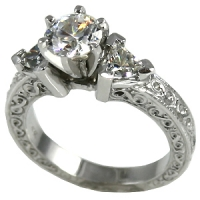 "14k Gold Antique Infinity Style 3 Stone ""Any shape center Stone"" w/Trillion Sides Engagement Ring - Product Image"