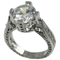 "14k Gold Antique Inspired Round Brilliant Cut Russian CZ ""Queen"" Ring    - Product Image"