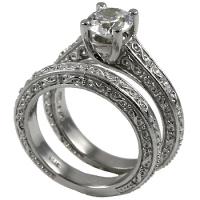 14k Gold Antique style Wedding Set CZ Cubic Zirconia Ring - Product Image