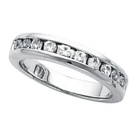 14k Gold Round Brilliant Channel Set Russian CZ Anniversary Wedding Band  - Product Image
