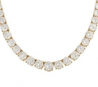 14k Gold Basket Style 15 Carat Round CZ Cubic Zirconia Graduated Tennis Necklace - Product Image