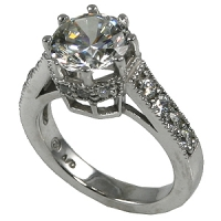 14k Gold CZ Cubic Zirconia 8 Prong Engagement Ring w/ accents - Product Image