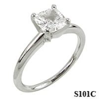 14k Gold CZ Cubic Zirconia Cushion Cut Solitaire Engagement Ring - Product Image
