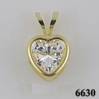14k Gold CZ Cubic Zirconia Heart Bezel Pendant - Product Image