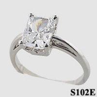 14k Gold Emerald Cut Antique/Scroll Solitaire CZ Cubic Zirconia Ring - Product Image