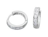 14k Gold Huggie style 1.2ct Channel Round CZ Cubic Zirconia Hinged Hoop Earrings - Product Image