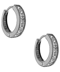 14k Gold Huggie style 1.5 ct Princess CZ Cubic Zirconia Hinged Hoop Earrings - Product Image