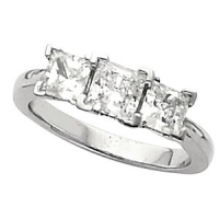 14k Gold Princess Cut Cubic Zirconia Past-Present-Future 3 Stone Engagement Ring - Product Image