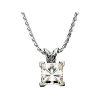 14k Gold Princess Cut Russian CZ Cubic Zirconia Scroll Pendant - Product Image