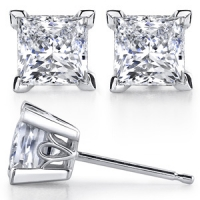 14k Gold Princess Cut Scroll Russian CZ Cubic Zirconia Stud Earrings - Product Image