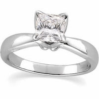 14k Gold Princess Russian CZ Cubic Zirconia Tulip set Solitaire Engagement Ring - Product Image