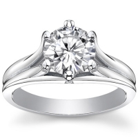 14k Gold Round Brilliant CZ Cubic Zirconia Fancy Swirl 6 Prong Solitaire Engagement Ring - Product Image