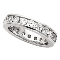 14k Gold Round Brilliant Channel Set Anniversary Eternity Wedding Band  - Product Image
