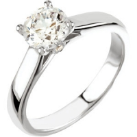 14k Gold Round Brilliant Cubic Zirconia Cathedral Solitaire Engagement Ring w/ side Accent Stone - Product Image