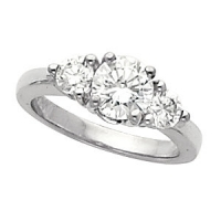 14k Gold Round Russian Cubic Zirconia 3 Stone Engagement Ring - Product Image