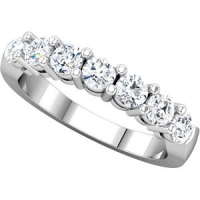 14k Gold Round Russian Cubic Zirconia 7 Stone Anniversary Wedding Ring / Band - Product Image