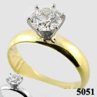 14k Gold Russian CZ 4mm Wide Band Engagement Ring - Product Image