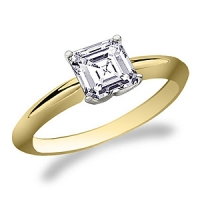 14k Gold Russian CZ Asscher Cut Solitaire Engagement Ring - Product Image