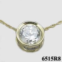 14k Gold Russian CZ Cubic Zirconia  Millenium Style Slide/Necklace - Product Image