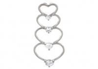 14k Gold Russian CZ Cubic Zirconia Journey Heart Pendant - Product Image