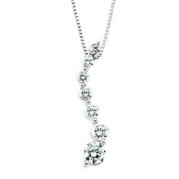 14k Gold Round Brilliant Cut Russian CZ Cubic Zirconia Journey Pendant - Product Image