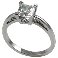 14k Gold Russian CZ Cubic Zirconia Princess Cut Antique/Scroll Solitaire Ring - Product Image