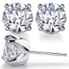 14k Gold Solstice Style Round Russian CZ Cubic Zirconia Earrings