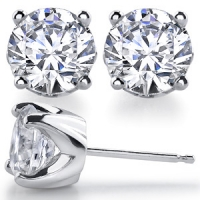 14k Gold Solstice Style Round Russian CZ Cubic Zirconia Earrings - Product Image