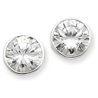 14k Gold Tube Bezel Round Russian CZ Cubic Zirconia Earrings - Product Image