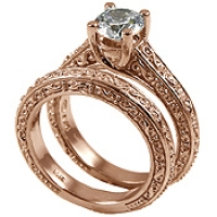14k Rose Pink Gold Antique style Wedding Set CZ Cubic Zirconia Ring - Product Image
