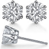14k Solid Gold Round Brilliant Cut Russian CZ Cubic Zirconia 6 Prong Stud Earrings