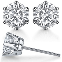 14k Solid Gold Round Brilliant Cut Russian CZ Cubic Zirconia 6 Prong Stud Earrings - Product Image
