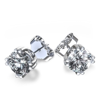 14k Solid Gold Round Brilliant Cut Russian CZ Cubic Zirconia 8 Twin Prong Stud Earrings - Product Image