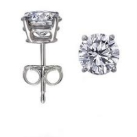 14k Solid Gold Round Brilliant Cut Russian CZ/Cubic Zirconia Stud Earrings - Product Image