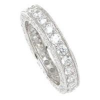 14k White Gold CZ Cubic Zirconia Antique Style Eternity Ring - Product Image
