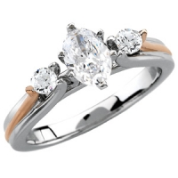 14k White w/ 14k Rose Gold Cathedral Engagement CZ Cubic Zirconia Ring - Product Image