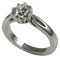 Solid 14k Gold Round Brilliant CZ Cubic Zirconia 8 Prong Flower Solitaire Engagement Ring - Product Image
