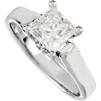 14k Gold Princess Cubic Zirconia Cathedral Solitaire Engagement Ring w/ side Accent Stone - Product Image