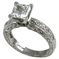 "14k Gold ""Any Stone size/shape"" Cubic Zirconia CZ Antique Infinity Style Engagement Ring - Product Image"