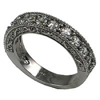 14k Gold Multi Stone Round Brilliant CZ Antique Infinity Style Anniversary Ring / Wedding Band - Product Image